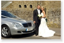 S Class at wedding with bride and groom